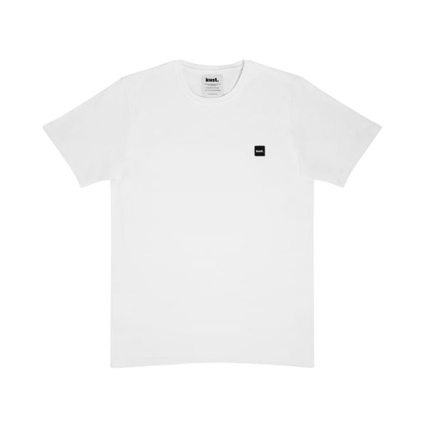 Organic cotton white tshirt, minimalistic and timeless design, tailored with soft organic cotton.Classic round neckline. Black kust. logo on the chest.